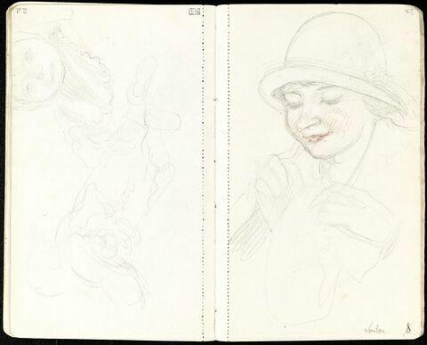 Buste de femme en chapeau