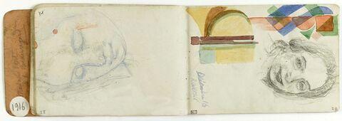 Etude de motifs géométriques décoratifs. Portrait de Marthe Denis