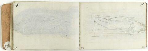Etude de deux figures : Vierge debout tenant une figure dans ses bras [étude pour un vitrail]