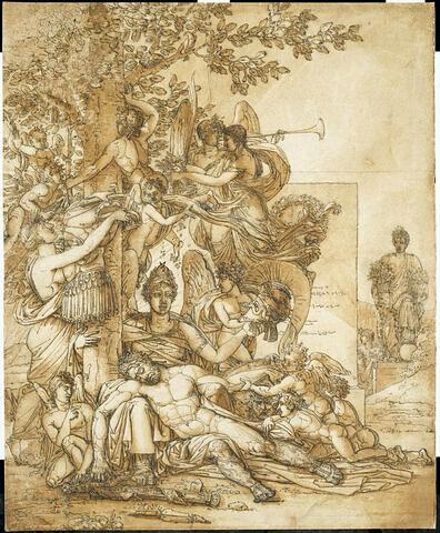 Composition allégorique à seize figures : Mars endormi, désarmé