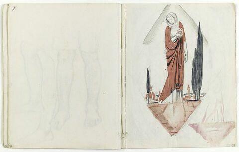 Femme debout (Vierge ?) sous un fronton sur un fond de paysage italien
