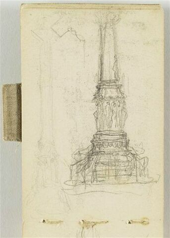 Deux croquis pour le Monument au travail, avec socle et colonne
