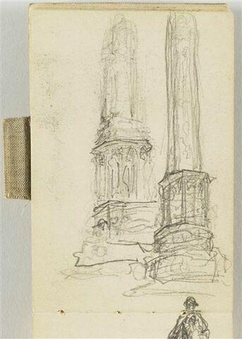 Deux croquis pour le Monument au travail, socle et colonnes