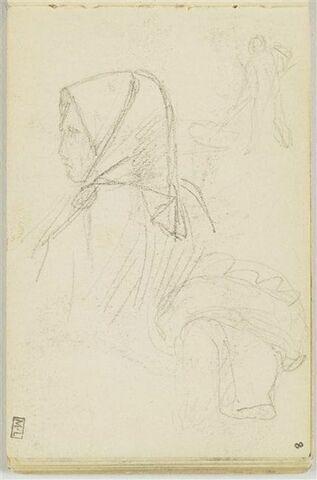 Croquis de paysanne en buste, un fichu sur la tête, portant un paquet (?) ; en haut à droite, petit croquis de paysan de dos fauchant (?)