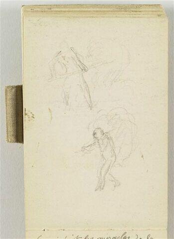 Croquis d'un paysan de face, soulevant une botte de foin et d'un paysan de trois quarts à gauche, portant une botte de foin