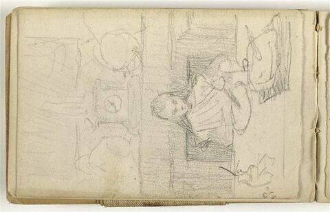 Fillette attablée dans un intérieur, se détachant sur une cheminée surmontée d'une pendule (Georgette Dalou, la fille de l'artiste)