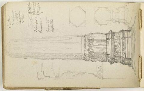 Etude pour le Monument au travail : élévation, section et profils d'une colonne hexagonale, ornée de figures à la base