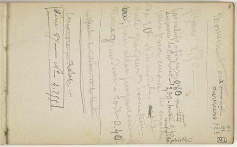 Notes manuscrites relatives notamment au Monument au travail