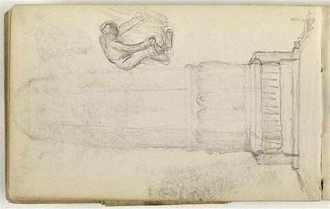 Etude pour le Monument au travail dont élévation d'une colonne héxagonale et à droite, paysan avec une faucille, courbe, de profil à droite