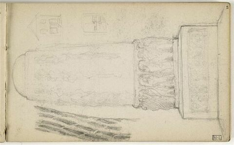 Etude pour le Monument au travail dont élévation d'une colonne circulaire avec figure à la base et frise sur le socle. Deux petits croquis de façades de maison, à droite