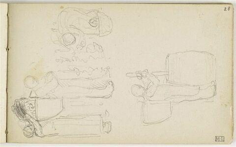 En haut, paysanne versant des raisins dans la hotte d'un paysan et paysanne penchée ceuillant des grappes ; en bas, paysan debout avec une hotte dans le dos, de profil à droite, écrasant du raisin dans un tonneau