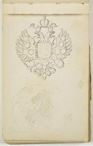 Motif héraldique avec aigles adossés, couronne, écu et léger croquis de médaillon