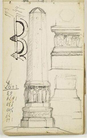 Etude pour le Monument au Travail : élévation de face d'une colonne de section héxagonale, avec relief ornant le socle et statues à la base de la colonne ; à droite, détail des moulures et du relief ; à gauche, croquis de deux arches