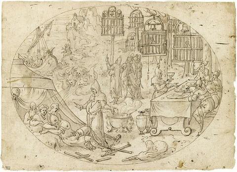 Pantragruel, Panurge, Frère Jean et Epistémon dans l'Isle Sonnante