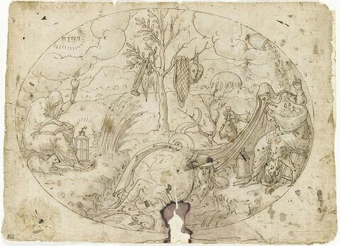 La Divine Charité et la Démoniaque Avarice de part et d'autre d'un arbre demi-sec portant les symboles de la Tromperie, l'Avarice souffle dans l'oreille d'un cardinal pris dans le Monde