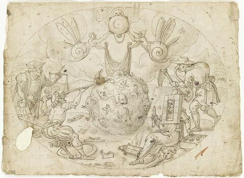 Quatre figures allégoriques grotesques autour d'une sphère mêlant tous les animaux