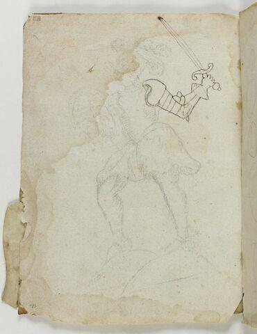 Chevalier en armure, avançant de trois quarts à gauche, brandissant une épée