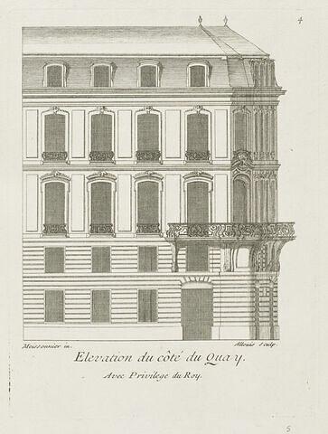 Elévation de la maison du sieur Brethous (vue du quai)