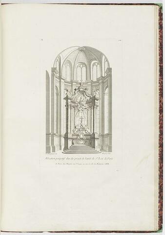 Elévation de projet d'autel à Saint Leu de Paris (planche 104, série R)