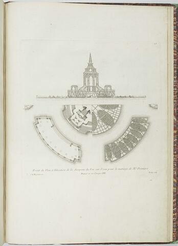 Projet du Plan et élévation de la charpente de feu pour le mariage de Me Première (planche 113)
