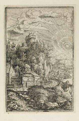 Paysage avec un château sur un rocher