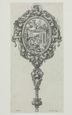 Miroir à main représentant Médée et Pélias