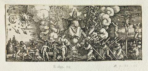 Cadre decoratif avec scènes de l'Ancien et du Nouveau Testament
