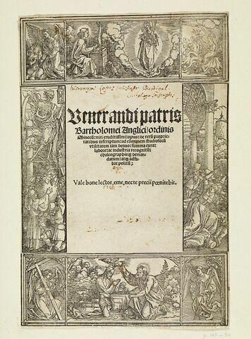 Cadre ornemental avec sujets du Nouveau et Ancien Testament