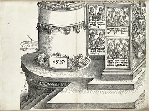 L'arc de triomphe de Maximilien: socle de la tour gauche; souverains et trophées