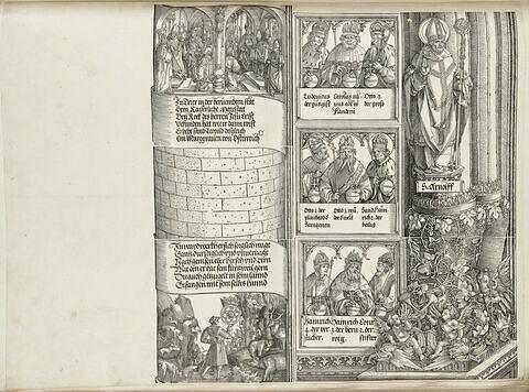 L'arc de triomphe de Maximilien : suite de la tour de gauche, des souverains et figure de Saint Arnulf