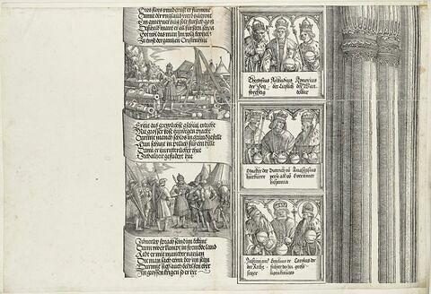 Arc de triomphe de Maximilien Ier : Scènes de la tour de gauche, des souverains et suite de la colonne gauche