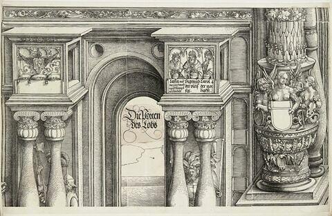 L'arc de triomphe de Maximilien : partie supérieure de la porte de l'Eloge