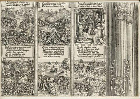 L'arc de triomphe de Maximilien: La rébellion des Flandres, Croisade en Lettonie, Le couronnement de Maximilien, L'entente entre Philippe et Henri VII, Les succès en France