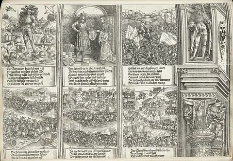 L'arc de triomphe de Maximilien : le jeune Maximilien, mariage de Maximilien et Marie de Bourgogne, scènes de bataille
