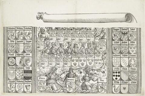 L'arc de triomphe de Maximilien : Armoiries et partie inférieure de l'arbre généalogique
