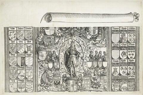 L'arc de triomphe de Maximilien : Armoiries et partie centrale haute de l'arbre généalogique
