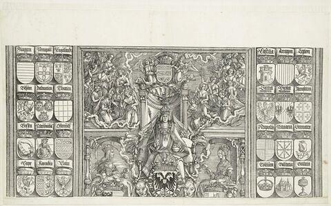 L'arc de triomphe de Maximilien : armoiries et partie supérieure de l'arbre généalogique