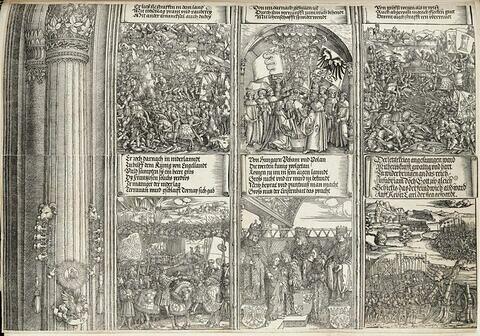 L'arc de triomphe de Maximilien : scènes de bataille, l'allégeance du duc de Milan, rencontre entre Maximilien et Henri VII, bataille de Pavie