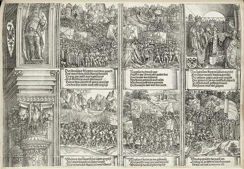 L'arc de triomphe de Maximilien : scènes de bataille, mariage de Philippe Ier d'Espagne