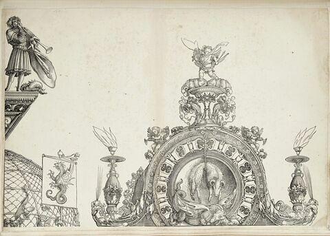 L'arc de triomphe de Maximilien : couronnement de la partie droite de la porte de la Noblesse