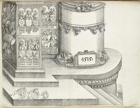 L'arc de triomphe de Maximilien : socle et figures des rois de la tour droite