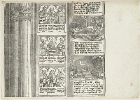 Arc de triomphe de Maximilien Ier : suite de la tour de droite avec les figures des rois