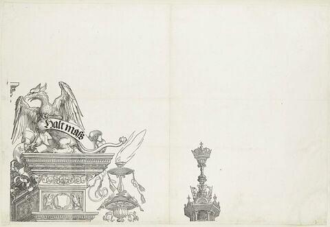 L'arc de triomphe de Maximilien : griffon et couronne de la partie supérieure de la tour de droite
