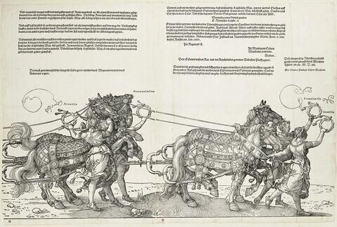 Le char triomphal de Maximilen Ier : Audatia et Magnanimitas