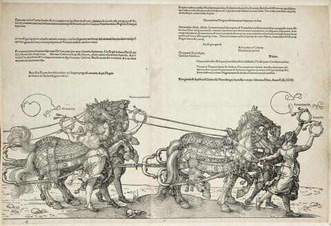 Le char triomphal de Maximilien Ier : Audatia et Magnanimitas