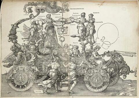 Le char triomphal de Maximilen Ier : L'Empereur couronné par la Victoire