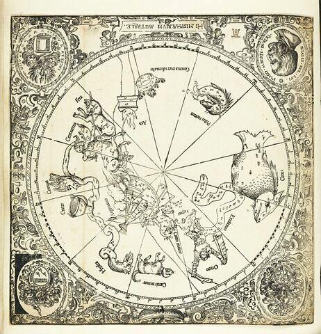 Carte du globe céleste : l'hémisphère austral