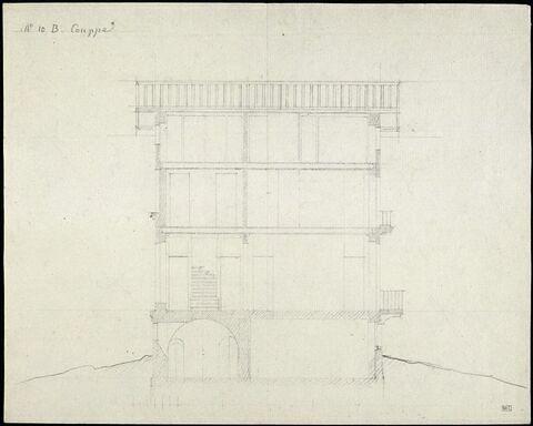 Esquisse d'architrave et notes manuscrites