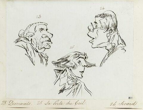 Portrait du géographe Nicolas Desmarets, de l'abbé Roch Ambroise Cucurron Sicard, de l'helléniste François-Jean-Gabriel de La Porte du Theil
