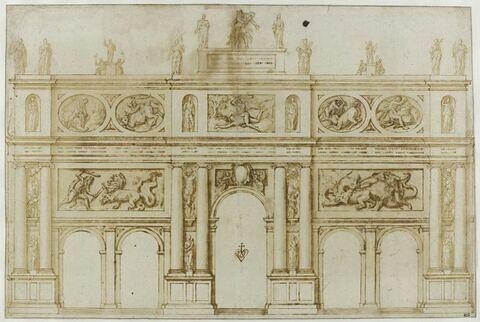 Projet d'arc de triomphe, avec reliefs illustrant les travaux d'Hercule